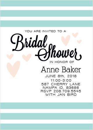 Hearts, stripes, and custom personalizations? What more could you ask for in a bridal shower card? Watch your alterations happen instantly as you edit your card to match your shower theme!