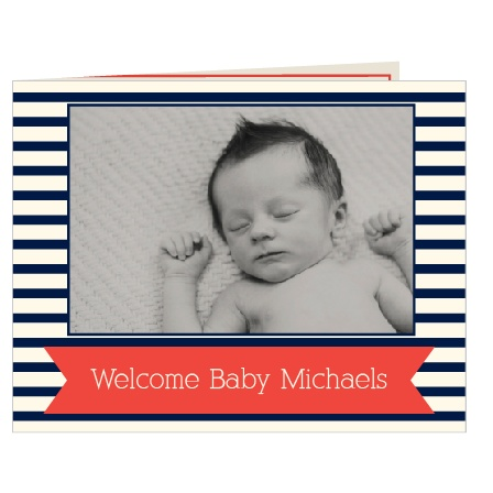 The Striped Perfection Mini Fold birth announcement lets you show off your new bundle of joy.