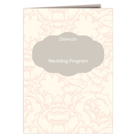 The Subtle Peonies wedding program is a perfect match to the rest of the Flowering Fold wedding suite.