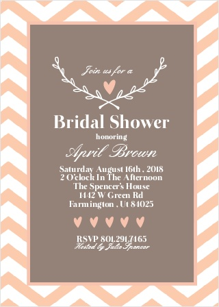 Customize this bridal shower invitation with your favorite colors, choose the pattern that matches the theme, and personalize everything instantly! There's no way you can go wrong!