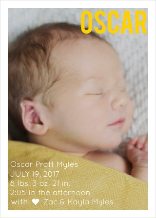 Show off you precious new born with a fantastic newborn photo and all those special details about the birth! Customize the colors and fonts just to you liking! Just like your baby, this announcement will be one of a kind!