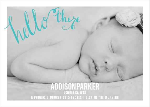 The Hello There baby announcement gives you an opportunity to show off that precious baby of yours! With a touch of hand lettering along with your personal color scheme preference, what more could you ask for?