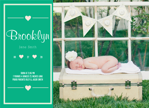 Send some sweet love love out by introducing your precious baby to the world! Customize the colors and fonts so you get exactly what you're looking for!
