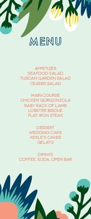 The Tropical Flower menu is perfect for any venue! The tall format of this menu gives you all the room you need. Totally customizable fonts and colors too! Hooray!