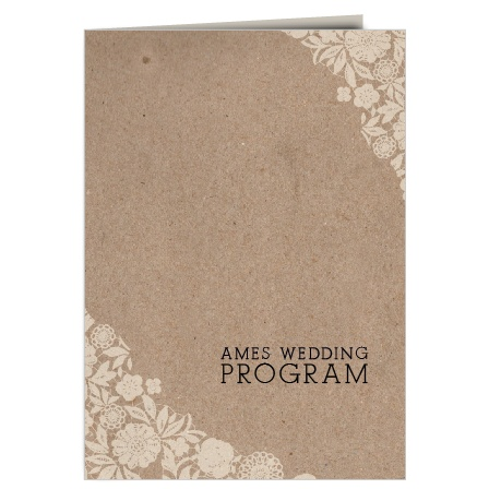 The Vintage Floral Kraft wedding program is a perfect match to the rest of the Vintage Floral Kraft wedding suite.