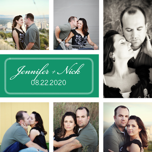 The Darling Couple is a super trendy photo collage invitation, complete with spots for 6 color or black and white photos.