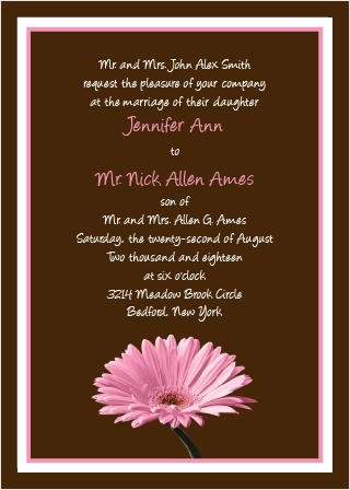 The Classic Gerber Daisy offers a beautiful flower for your ideal wedding invitation.