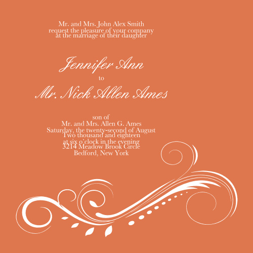 The Streamlined Scroll is a beautiful invitation that balances the traditionalism of scroll details with a modern, streamlined scroll along the bottom of the square invitation.