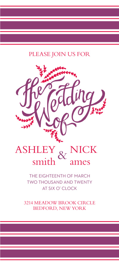 The Flowering Script is modern yet classy with flowering wedding scripts and tea length design.