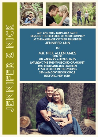 The Photo Romance is a unique and stylish photo wedding invitation that can be customized instantly online with your own photos and colors.