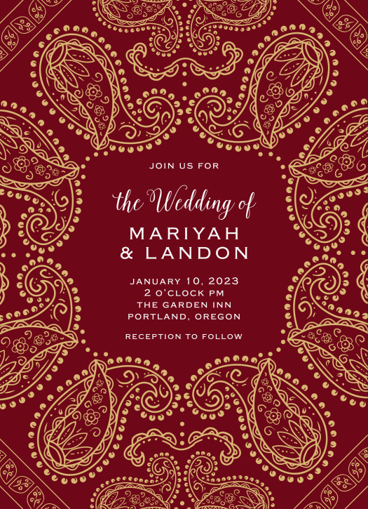 One of our most whimsical and customizable wedding invitations, the Precious Paisley announces your special day with three distinctive panels.
