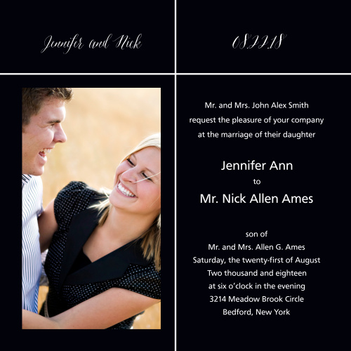The Pure Simple Lines is a different but fun take on the traditional wedding invitation.