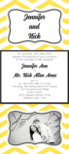 Get the perfect wedding invitation with The Chevron Ornamental Frame single sided tea length invite.