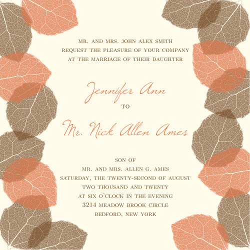 The Autumn Leaves is the perfect wedding invitation for couples looking to get married in the fall.