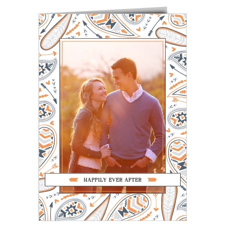 The Modern Paisley is a traditional book fold wedding invitation that is modern and trending. With four panels, you have room to add photos and include your wedding day details.