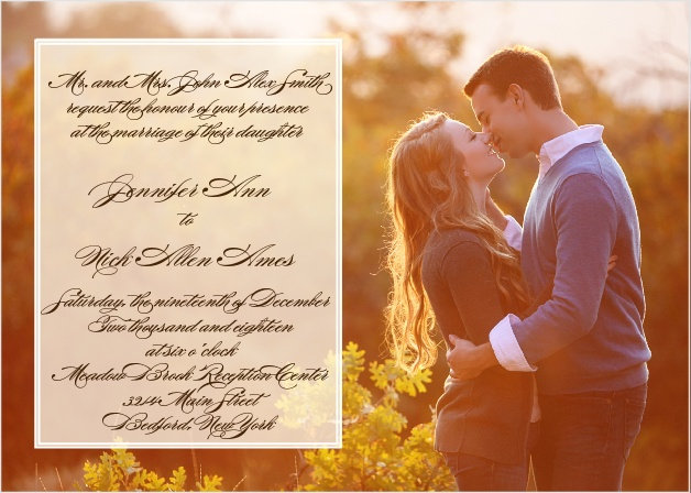 Photo wedding invitations picture wedding invitations the sheer overlay wedding invitation stopboris Gallery