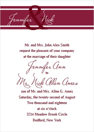 The Traditionally Formal is an elegant and unique wedding invitation. Bars and stripes are placed at the top offering size and color differences as well.