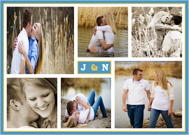 If you have a collection of photos you want to incorporate into your invite, the Modern Photo Collage is the invitation for you! With room for eleven of your favorite photographs, the Modern Photo Collage is a highly personal wedding invitation that uses your photos and bold accents to express the joy of your upcoming nuptials.