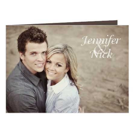 The Happy Couple is a unique high fold double sided traditional photo wedding invitation.