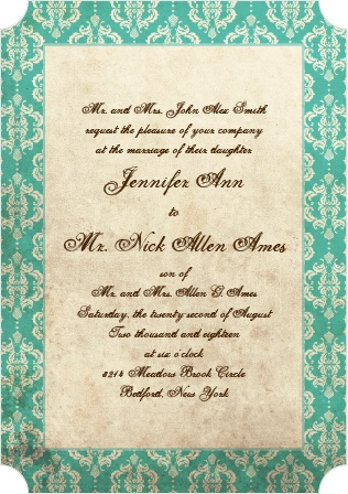 The Old World Vintage is the wedding invitation that offers eclectic color and various options for the font, background, and borders.