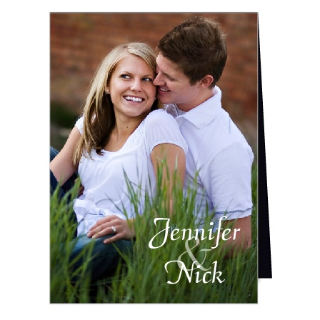 The Sweet Affection is a unique high fold double sided traditional photo wedding invitation.