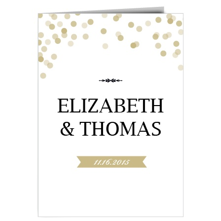 The Glamorous Confetti is a traditional book fold wedding invitation with a trending classy and clean aesthetic. With four panels, you have room to add photos and include your wedding day details.
