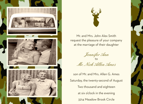 The Camo and Antlers is the perfect wedding invite for your couples that love to be outdoors.