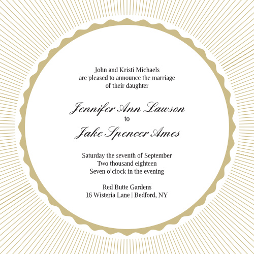 Stand out from all the other brides with this elegant, clean and spectacular wedding invite. Customize the colors in order to match your wedding theme perfectly. Don't forget to check out the enclosure cards that match this design as well.