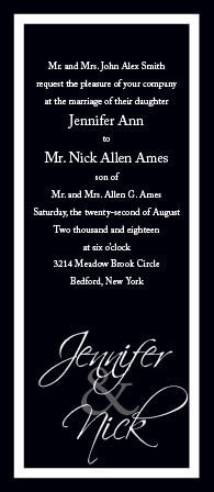 The simplicity and absolute elegance of this wedding invitation emphasizes the message of your upcoming nuptials.