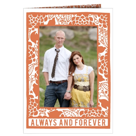 The Flowering Couple is a double sided book fold wedding invitation with room for three pictures throughout and plenty of room for the wedding day details.