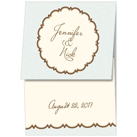 The Scalloped Frame is a gorgeous gatefold wedding invitation with outer flap featuring a photo of the happy couple surrounded by a scalloped frame and a crisscross pattern background.