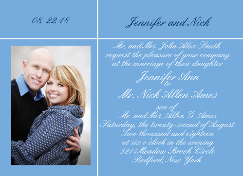 The Sweet Simplicity make a great photo wedding invitation with it simple clean lines and space for your favorite photo.