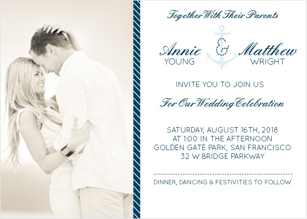 Nautical Wedding Invitations Match Your Color Style Free – Nautical Wedding Invite