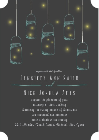 The Mason Jars And Fireflies Wedding Invitation