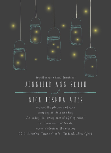 The Mason Jars And Fireflies wedding announcement is perfect for your outdoor rustic wedding theme.