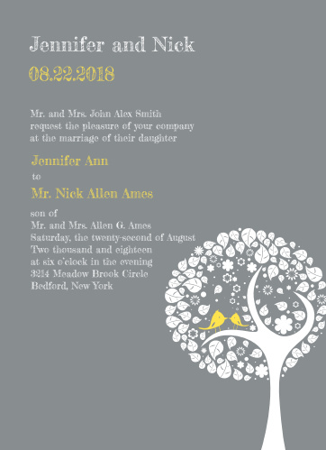 A fairy-tale-like tree is the predominant graphic on this invitation and small birds in the tree add charm.