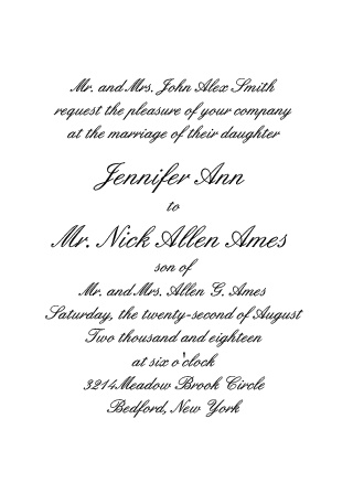Classy and cool, the Simple Luxury offers the wording of the wedding details with your choice of font and backdrop color.