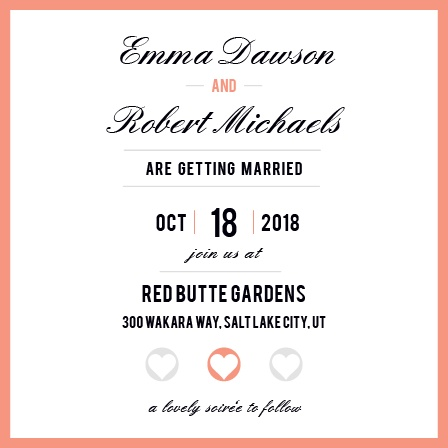 Stand out with this fully customizable elegant wedding announcement. This card has the memorable square format and once you change all the colors to match your wedding theme, this card will truly be one of a kind!