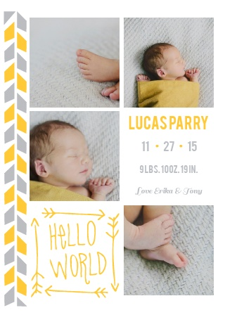 Tribal print mixed with a touch of hand written type, and 4 photos of your beautiful new born... what could be better? Oh, how about the ability to customize all the colors and fonts AND personalize this card instantly online! Woah! Mind blown! Have some fun!