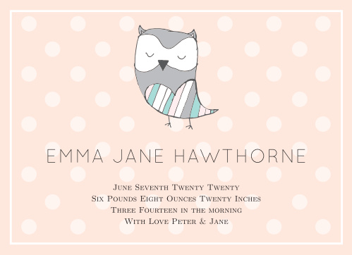 The only thing cuter than this adorable owl is your new precious baby! Combine the two, and you have one awesome baby announcement! Customize the colors and fonts and personalize everything instantly online!