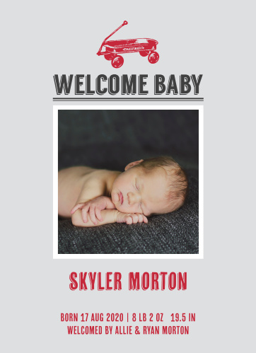 Customize this wagon themed Baby Announcement to make it truly one of a kind! Make your personalizations and upload your favorite photo instantly online!