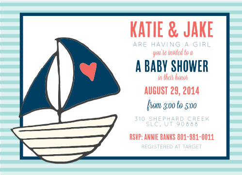 Nautical baby shower invitations match your color style free penned sailboat baby shower invitation filmwisefo