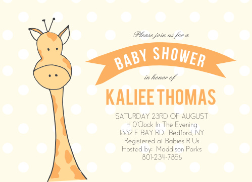 Peeping Giraffe Baby Shower Invitation