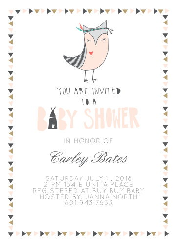 Native Owl Baby Shower Invitations
