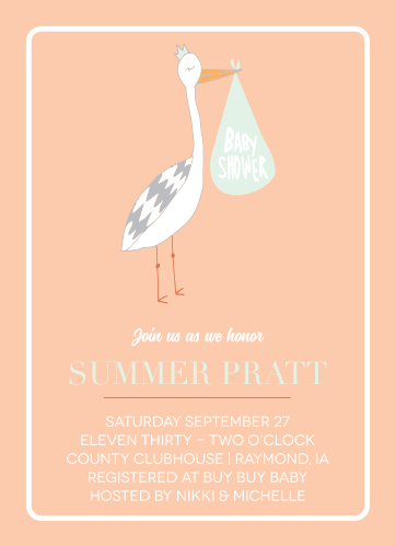 Stork baby shower invitations match your color style free via stork baby shower invitations filmwisefo