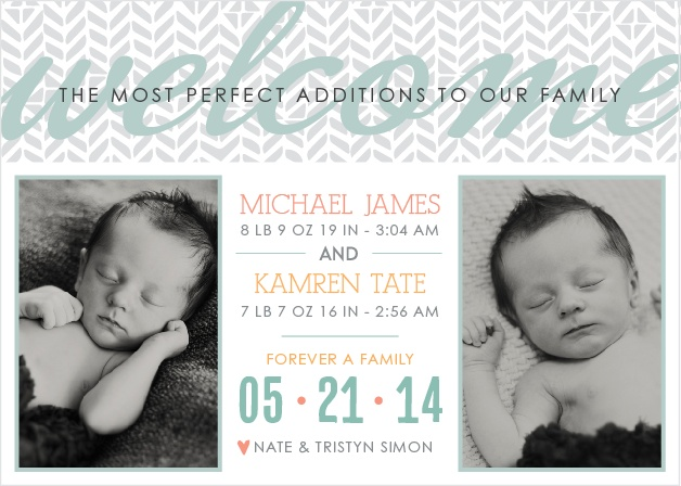 Twins for days!! Add a trendy tribal pattern, your favorite color scheme, and your custom personalizations and you're well on your way to the cutest darn baby announcement of all time!