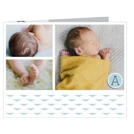 The Modern Magazine mini fold birth announcement stands out in multiple ways! First, there are SIX opportunities to show off you precious new addition! The mini-fold format is adorable, intimate and one of a kind! Customize all the colors and fonts and see your changes as you go in our instant online preview!
