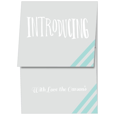 The Baby Blue Stripes mini gate birth announcements offer a unique and fun way to show off the latest member of your family.