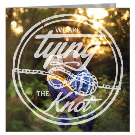 The Tying the Knot wedding invitation is totally rad! With the folded square format, you have four panels of awesomeness! Not to mention, you have 4 opportunities to show off your favorite engagements.