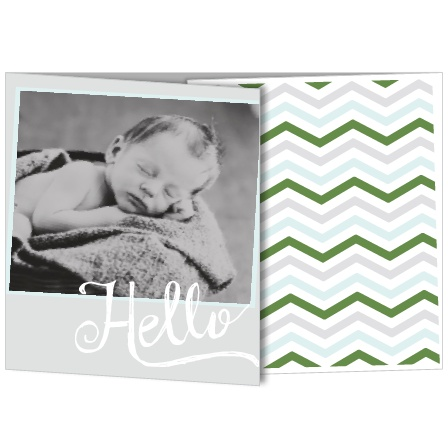 Chevron and baby. Baby and chevron.They go together like two peas in a pod! Even more, customize the colors and fonts, upload your favorite photos, and personalize the card instantly online!
